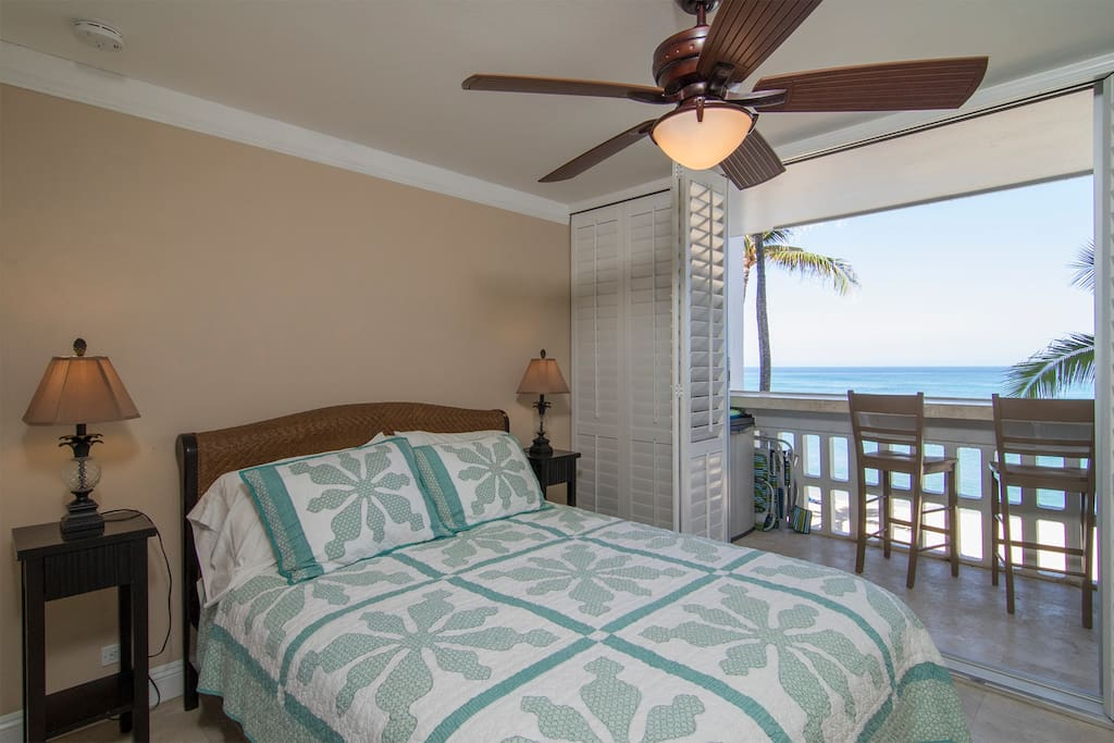 Sleep in this queen size bed to the sounds of the waves crashing outside.
