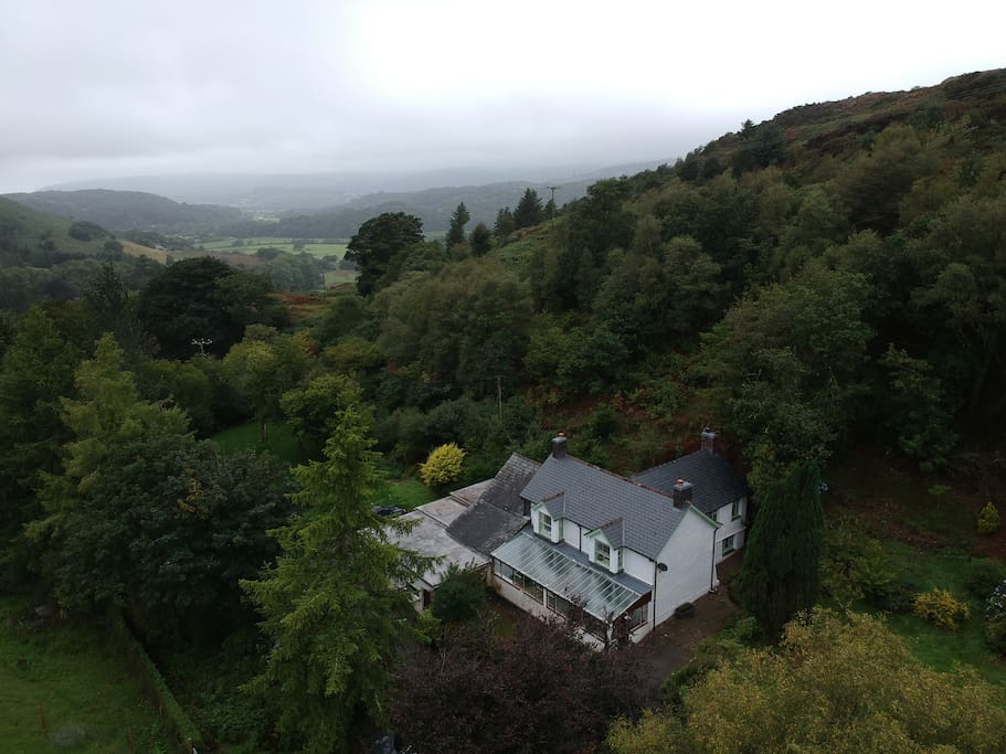 The cottage looking down toward the Dovey Valley