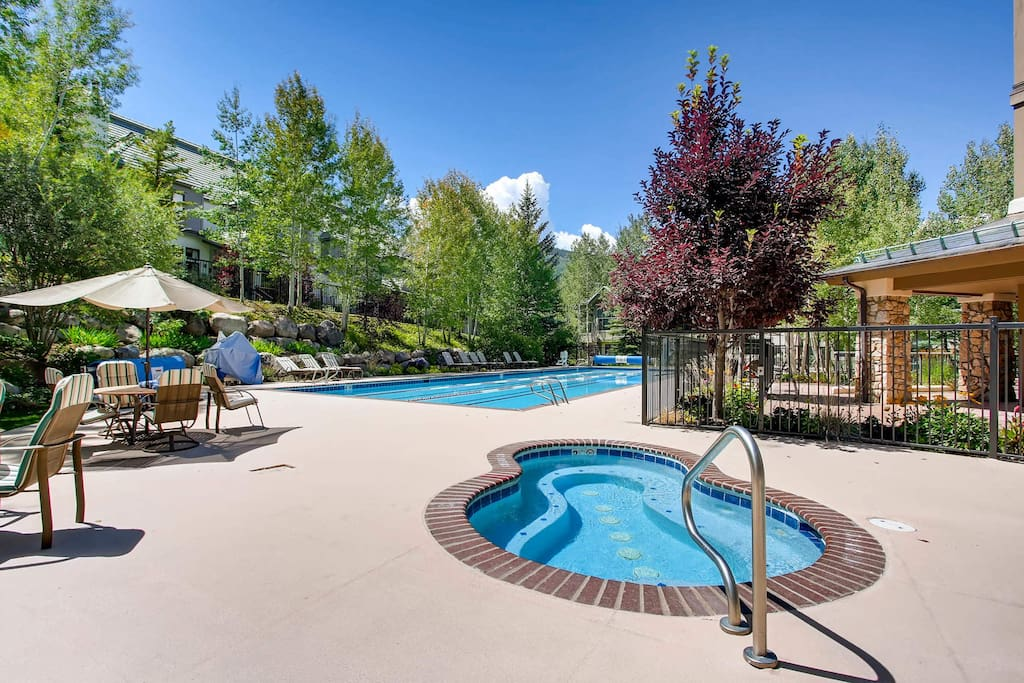 The community hot tub and pool are just downstairs, and stay heated year-round.