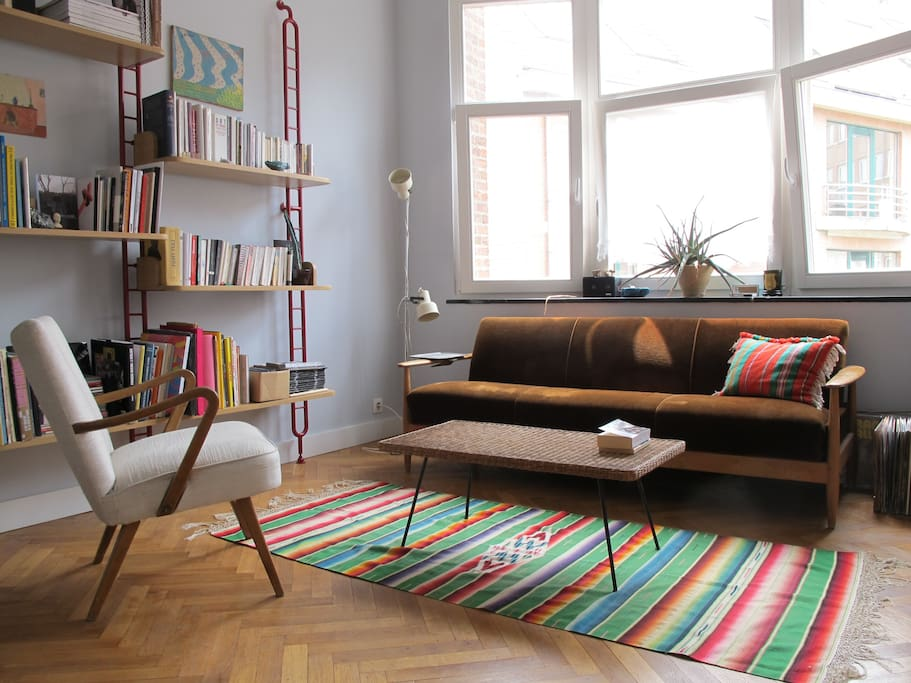 Sunny living room with sofa bed
