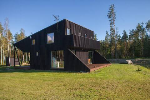 House with sauna and fireplace