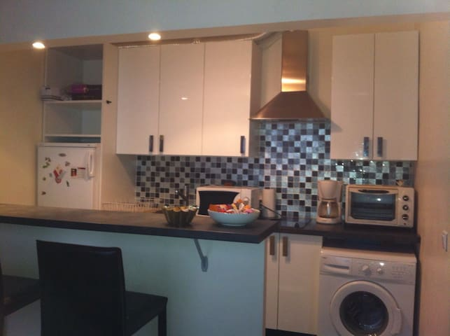 La cuisine tout équipée (four, micro-ondes, machine à laver, plaques électriques)
