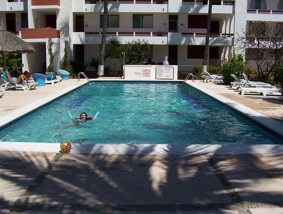 The swimming pool at the condo.