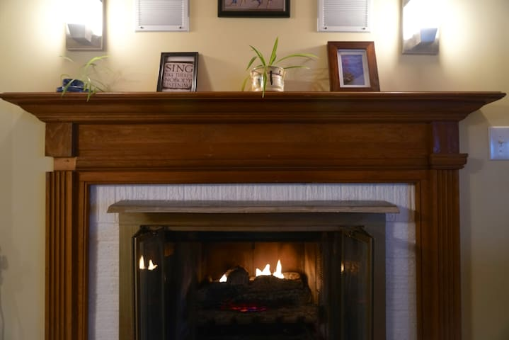 The gas fireplace is available for guests to use, there are directions to light in the studio