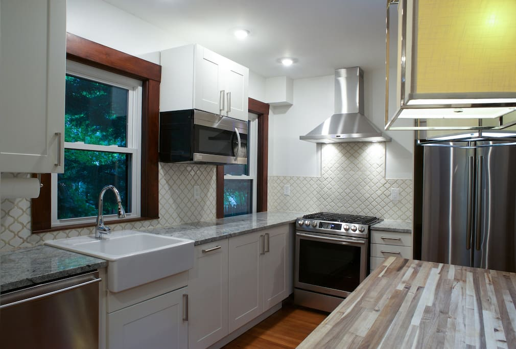 Brand new eat-in kitchen with dish washer, microwave and toaster oven. Also with original built in china cabinet. Stocked for all cooking needs.