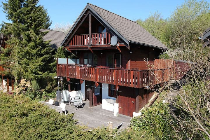 Beautiful chalet on a camping, with different terraces and a beautiful view