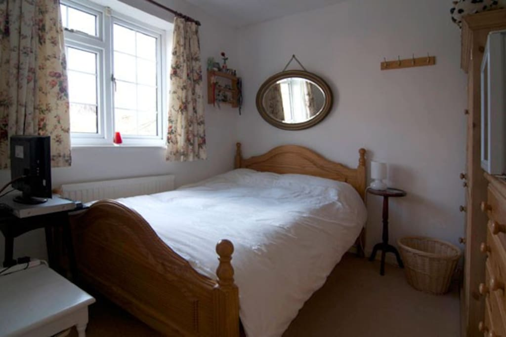 Room with comfy double bed, fridge, microwave, kettle, toaster, TV, DVD player and high speed broadband.