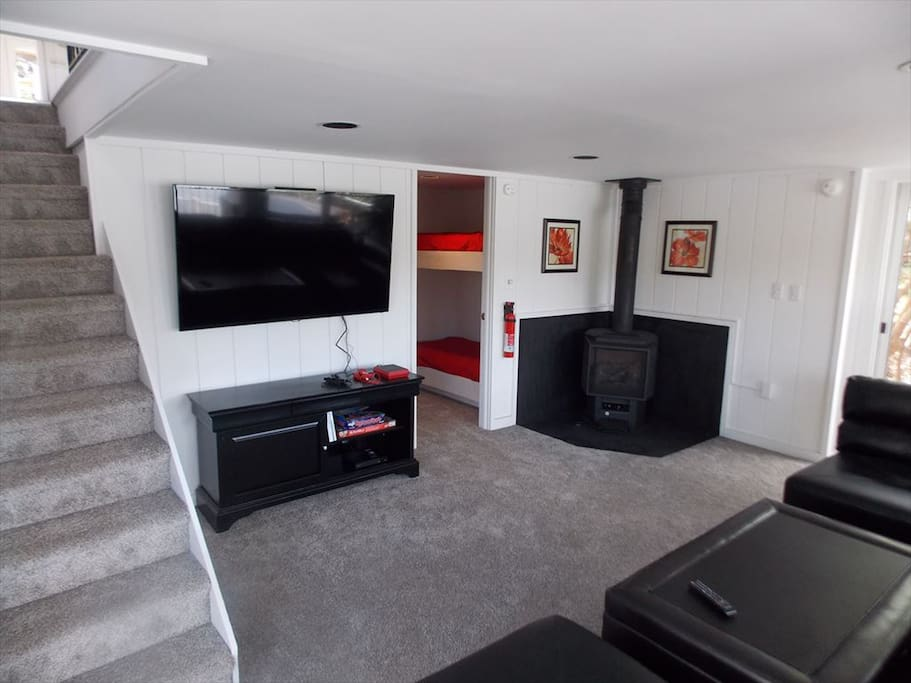 Bottom floor with flatscreen, Wii, and Gas Fireplace Stove