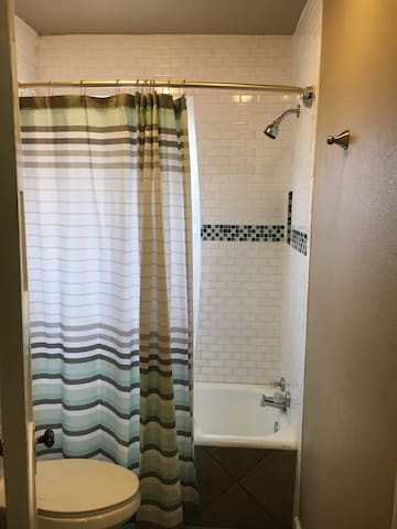 Renovated bath with toiletries
