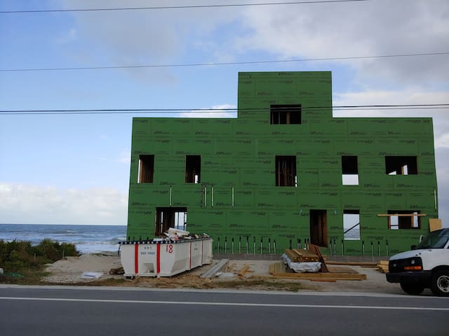 Oceanfront Beach House under construction September 2019.