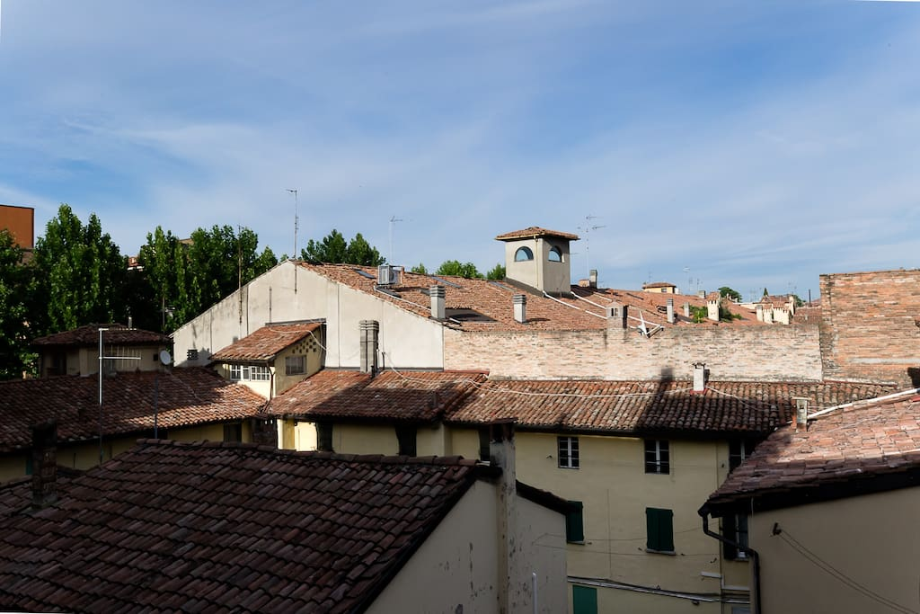 view on the city center from the bedrooms