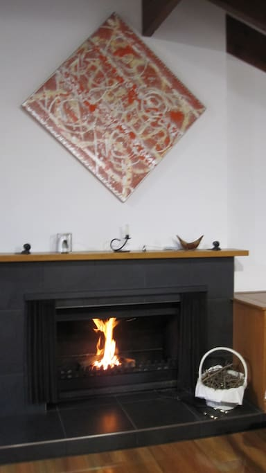 Open Fireplace in Communal Dining Area
