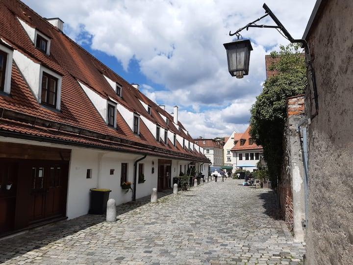 Historisches Haus im Salzstadl Landsberg.