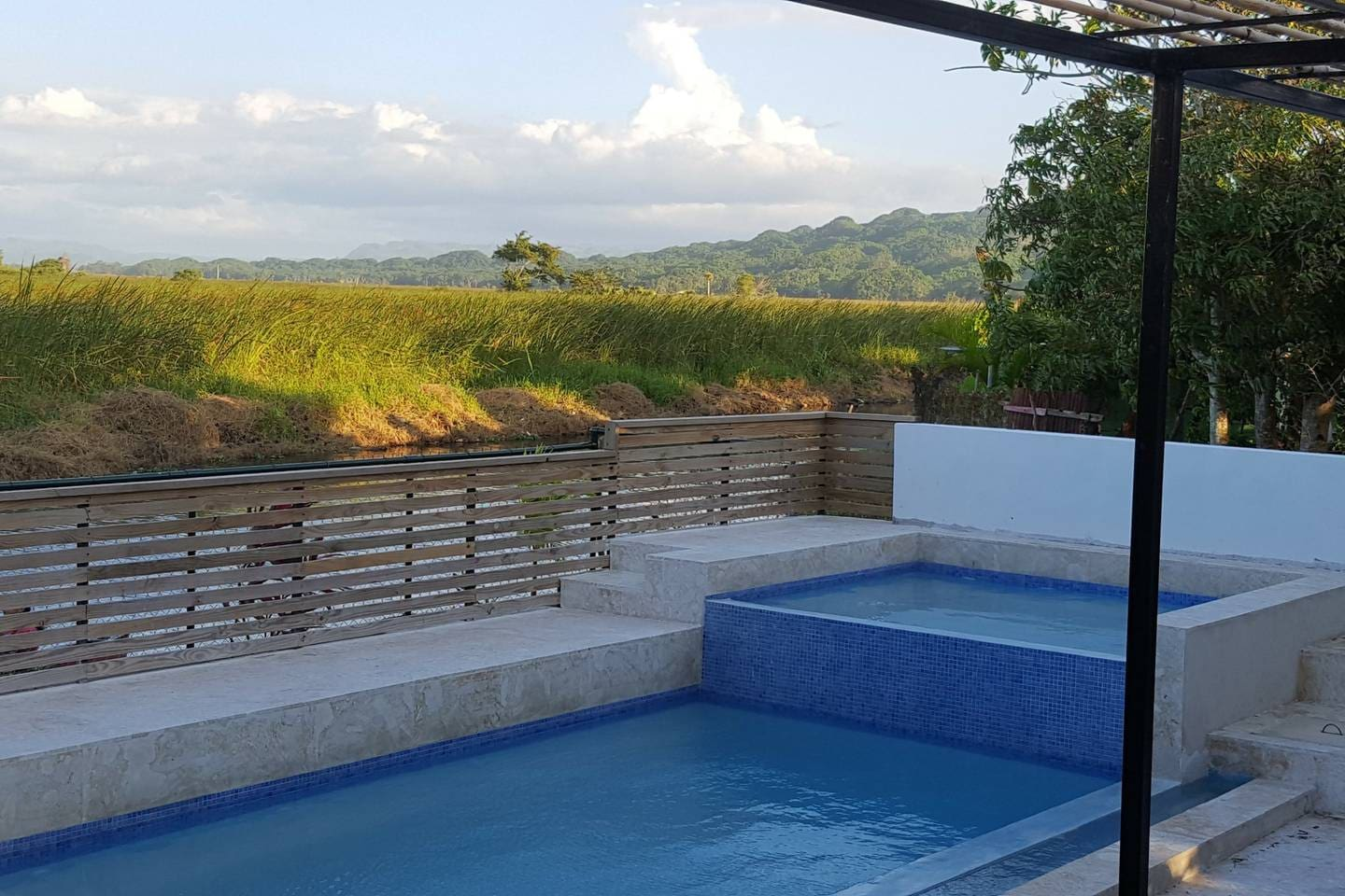 Enjoy the pool while looking out to the mountains
