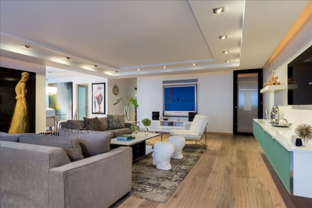 Living room showcasing beautiful art