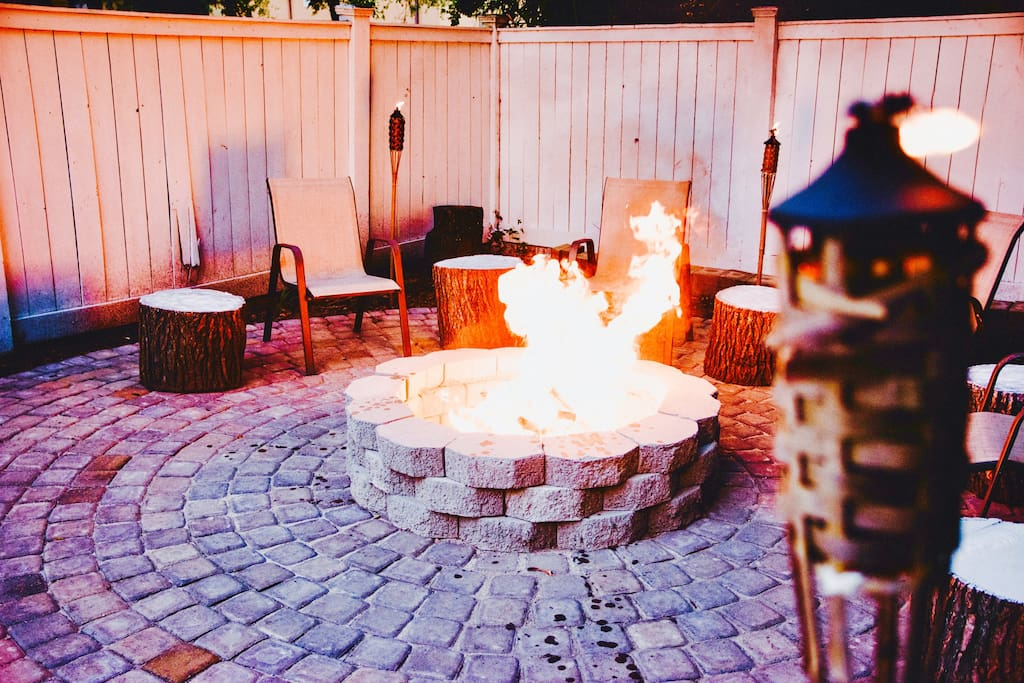 Outdoor fire pit ready to use before hitting the town!!
