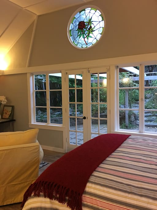This cottage has 2 stainglass windows - cottage overlooking the private patio