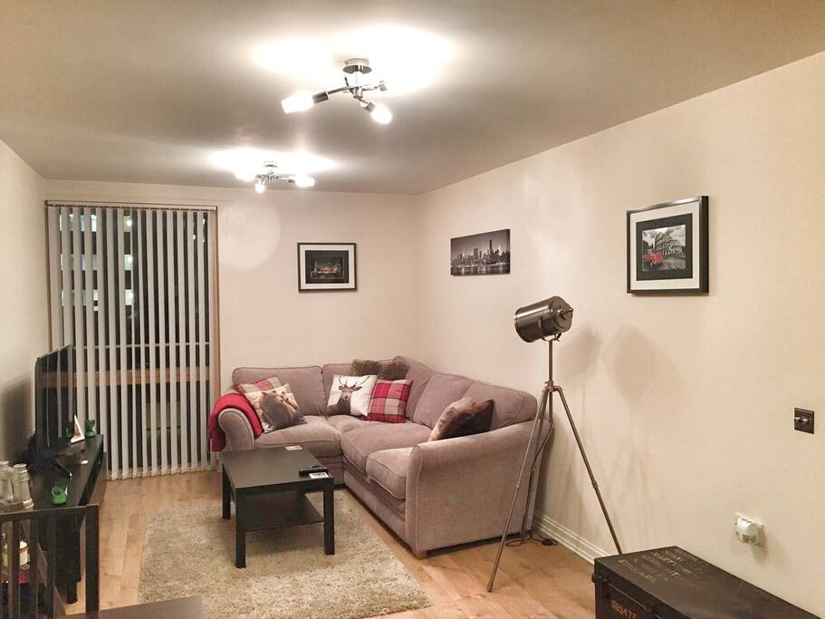 Living Room including large screen smart tv