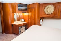 Vanity in Master Stateroom Flat Screen Tv, Playstation 4 and Stereo