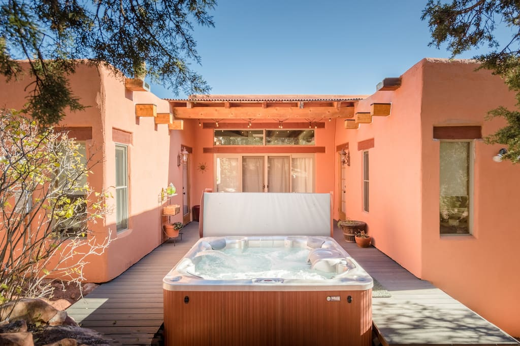 Relax in our hot tub while you star gaze at night - or enjoy looking out at our 3 acres during the day!