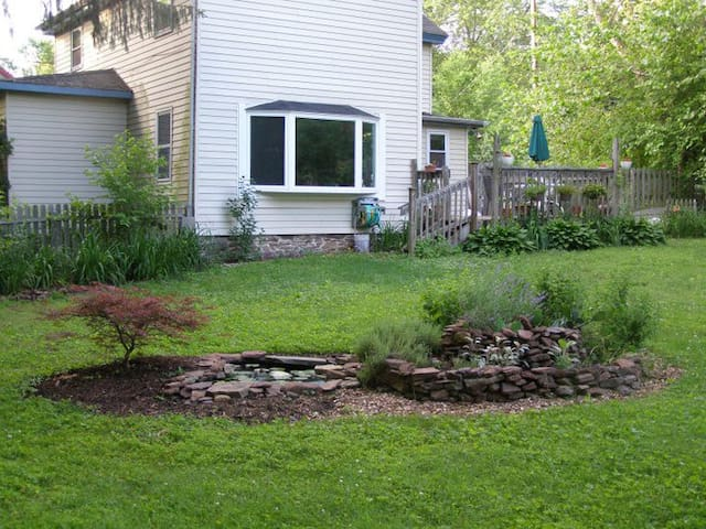 Half acre back yard with deck, next to D&R Canal Path for biking, walking, running, and 300 yards to Delaware river for canoeing, kayaking, tubing, swimming.