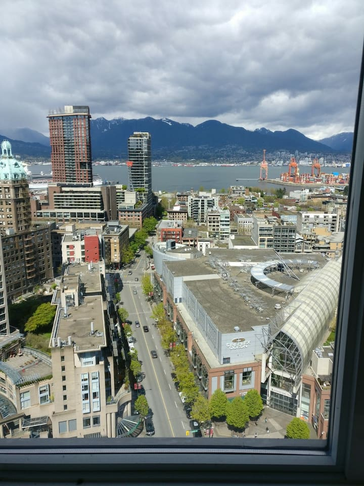 This is the view of the North Vancouver and seabus route from your bedroom. Very nice view right from your private bedroom you are able to see how beautiful the Vancouver is. This view is particularly amazing at night. You will definitely like it