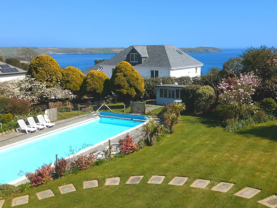 Almost an acre of Private Garden, Private 15m pool, and beautiful views of Carlyon Bay