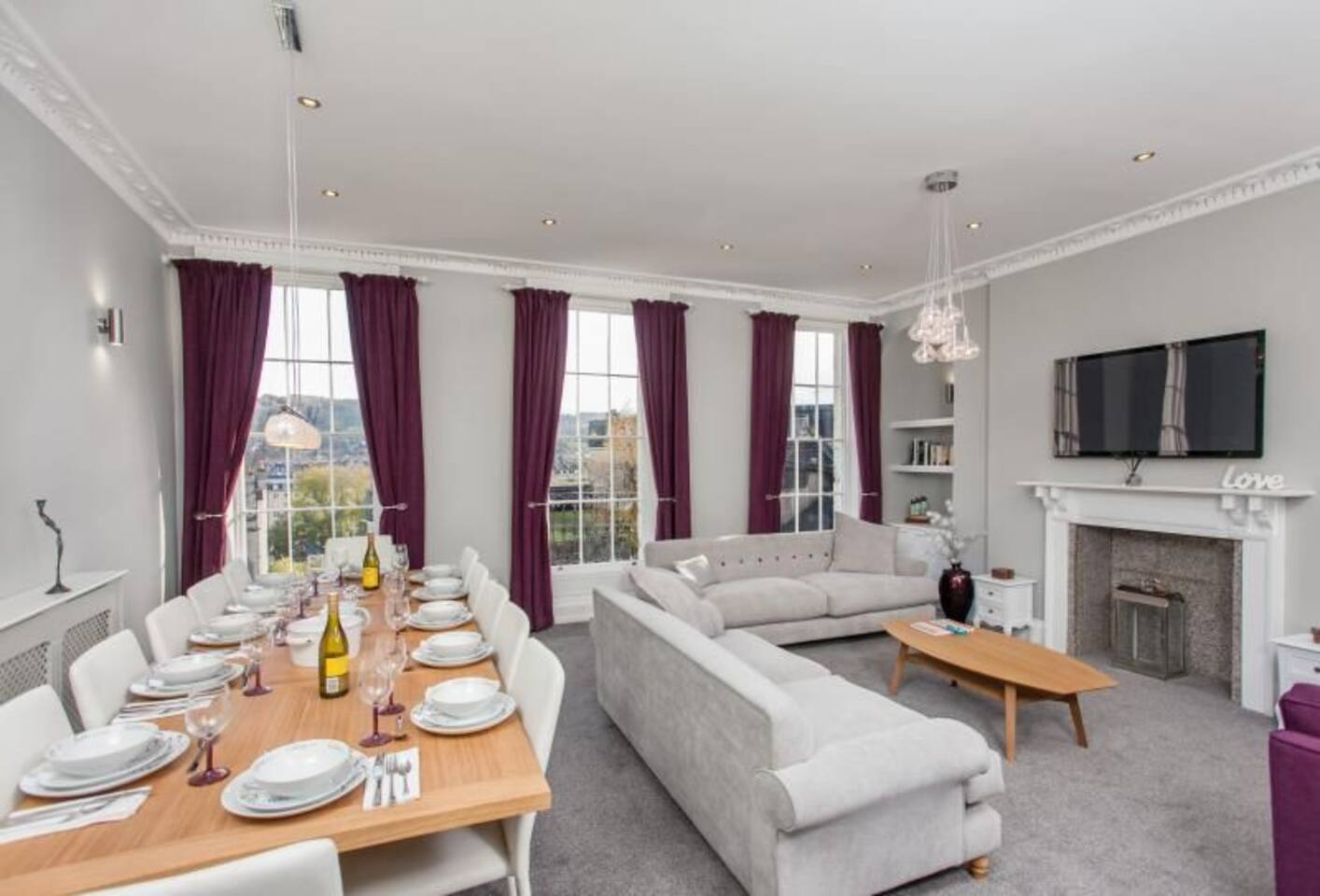 Large open plan lounge dining with fabulous views