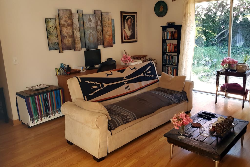 Living Room Couch and Desk