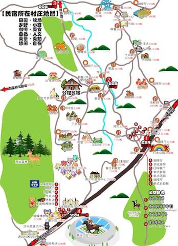 民宿所在村庄的地图,与李孝利民宿相邻