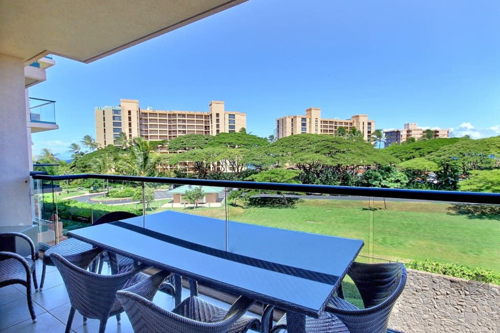 You'll be eating breakfast, second breakfast, brunch, lunch, and dinner out on the lanai table for 4.