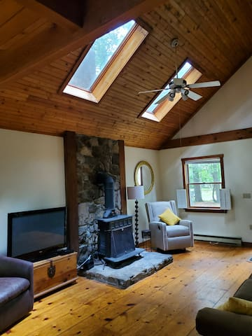 Living room with wood burning stove, skylights, open plan