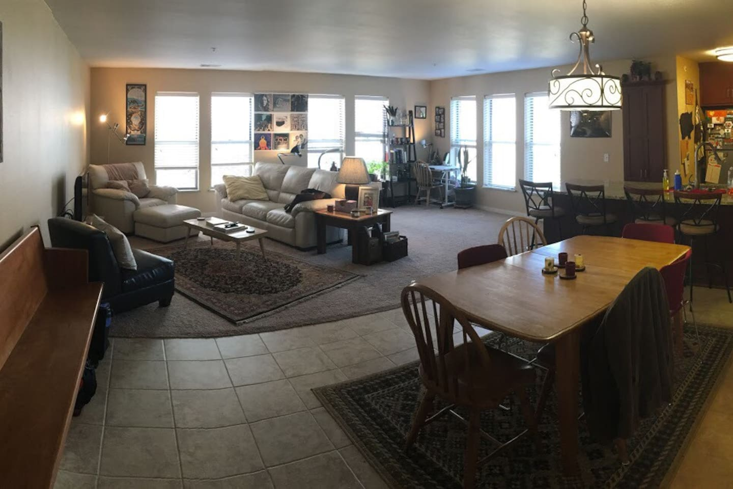 Main living area & kitchen (to the right)