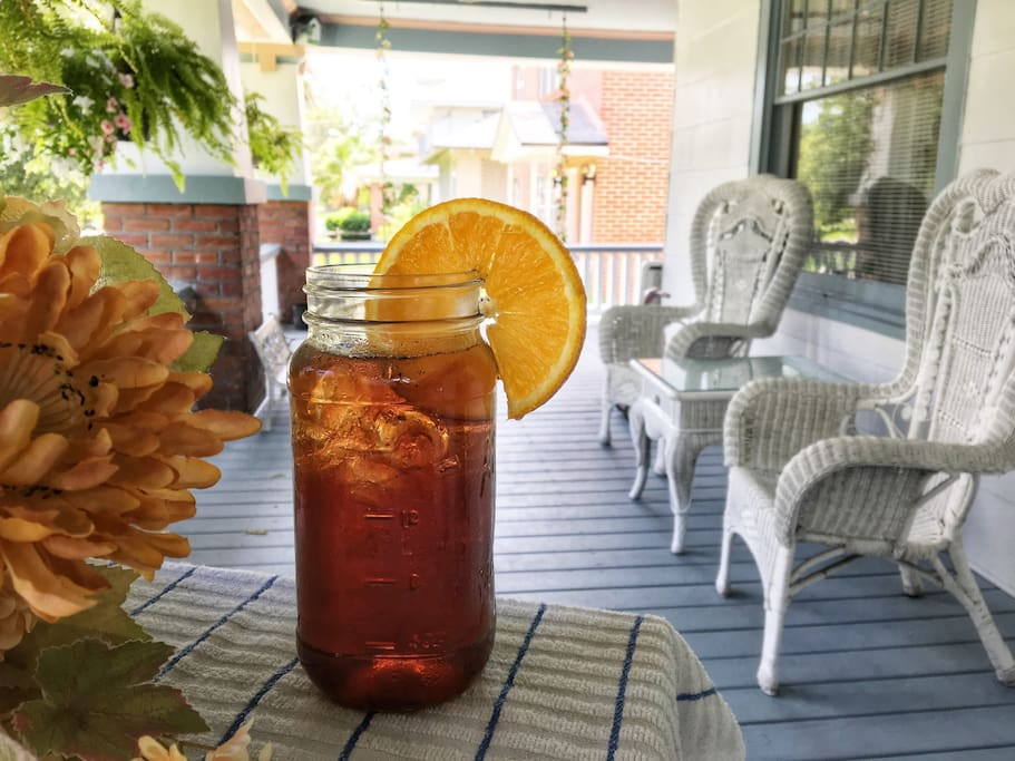 Imagine relaxing and enjoying some delicious home brewed iced tea on the porch. Bring your favorite book!