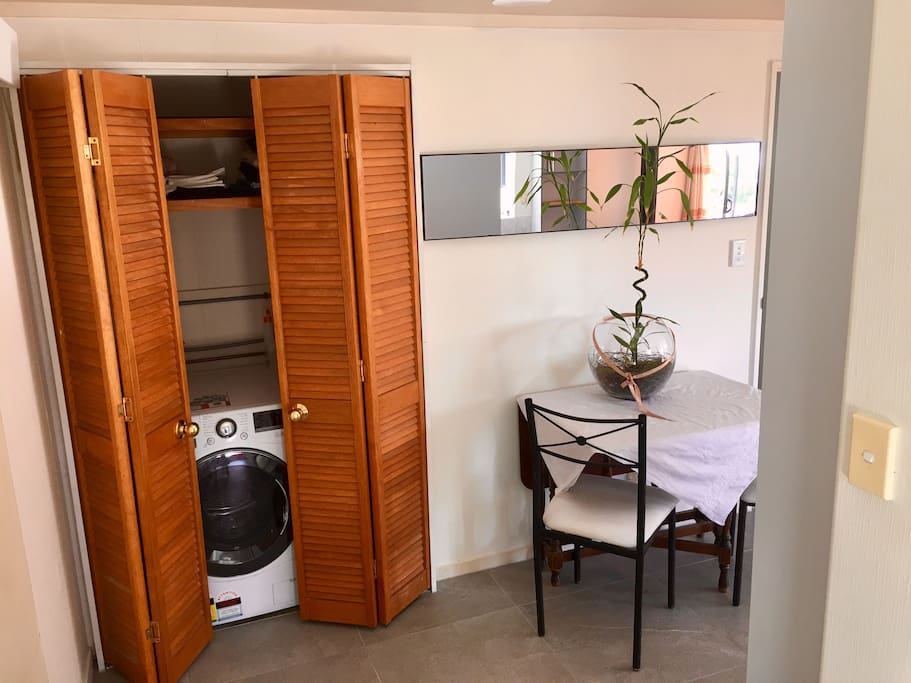Entrance hall with washing machine/dryer and dining table