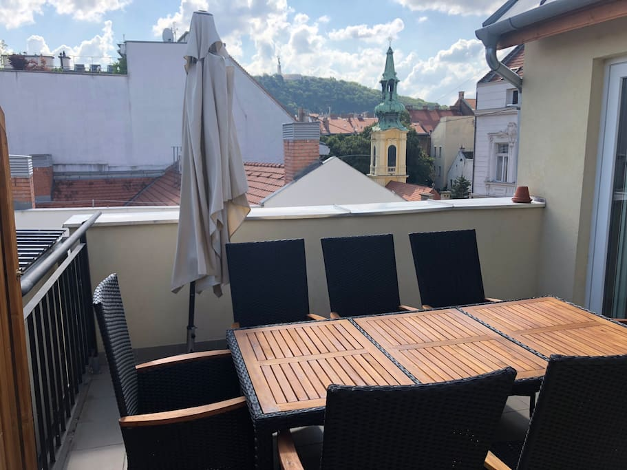 View from the terrace across to Gellert Hill.