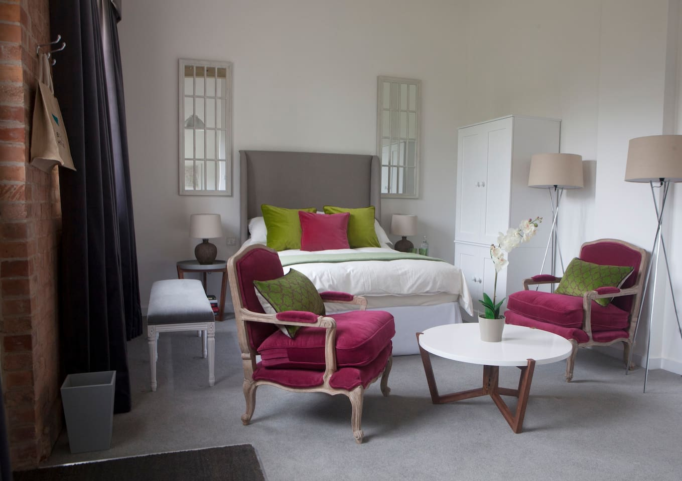 Rotheram has a comfortable double bed and high ceilings.