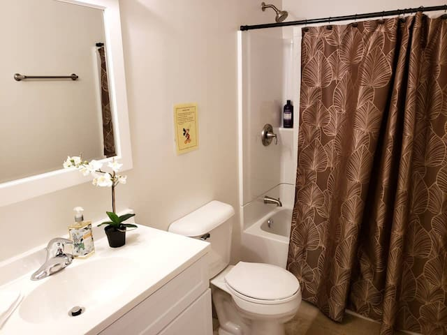The bathroom is fully equipped with hand soap, body wash and shampoo. It is cleaned daily between the hours of 12-2 pm by my professional cleaning staff.