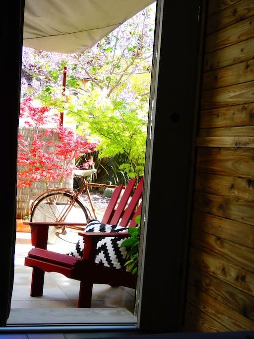 View from the room, your private patio, grab a glass of wine and rest.