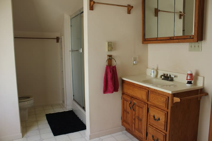 Shared bathroom with shower, toilet, and sink.