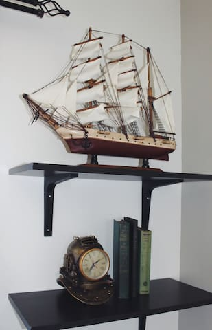 The Kraken maintains an eclectic collection of nautical items and books.
