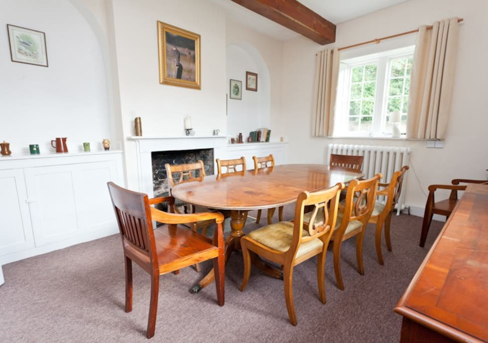 Family dining area with large dining table