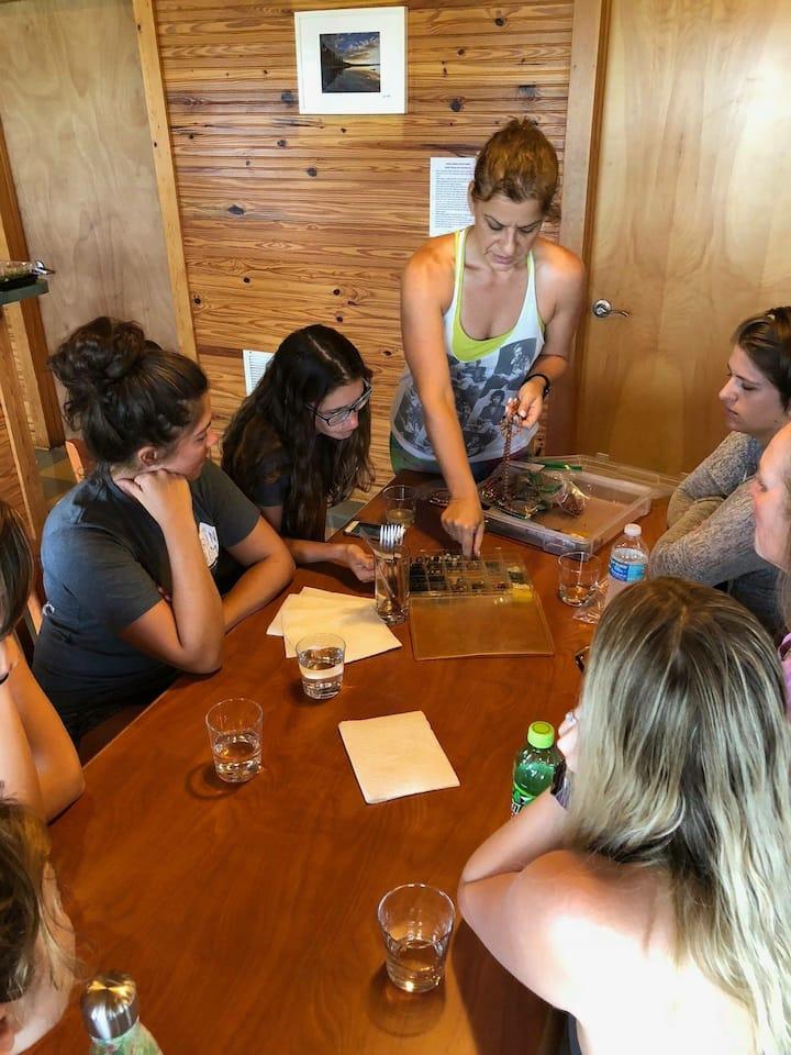 Teaching a mala workshop