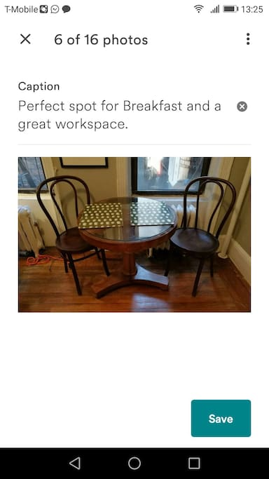 Perfect spot for breakfast and a great workspace.