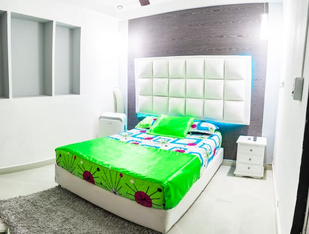 Room #2 with Comfortable Bed, Ceiling Fan, Closet, Smart TV and Digital Safe