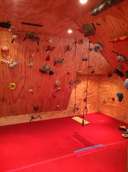 Climbing room also has swing for kids!