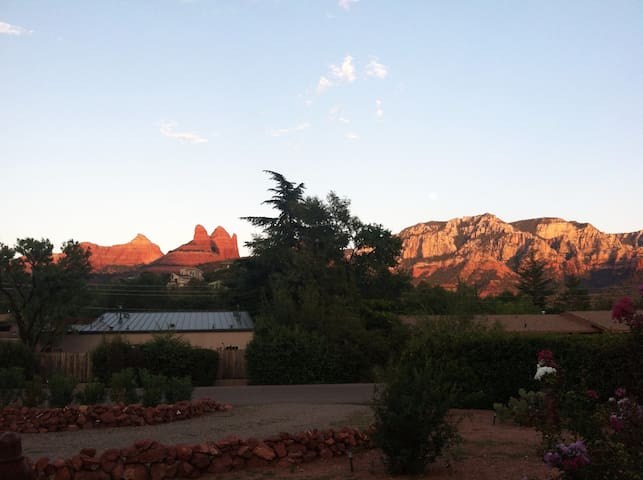 Surrounded by mystical red rock formations changing colors with the sunset