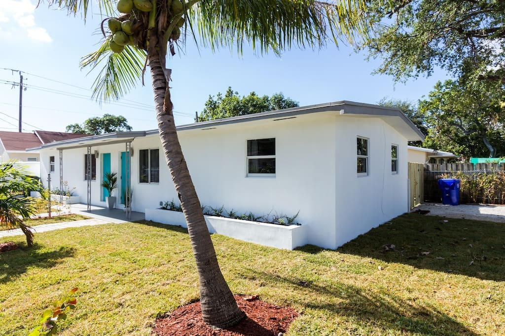 Completely remodeled house with new landscaping.