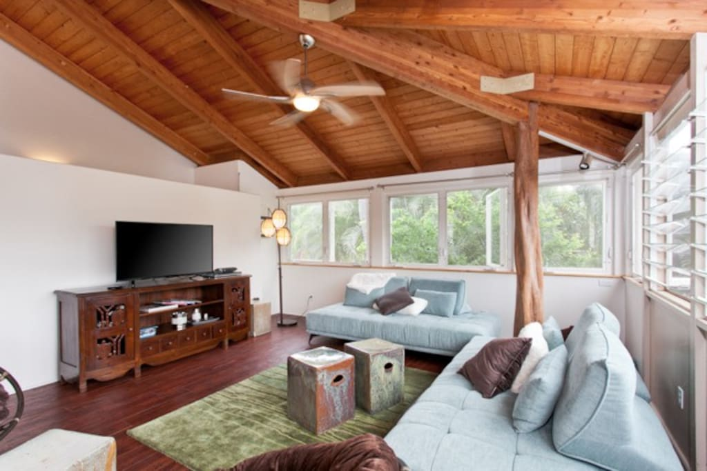 The two sofas easily convert into twin beds.  The home has wireless internet service and cable TV along with plenty of movies and games.