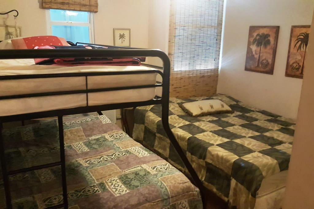 Twin and full bunk beds and queen bed